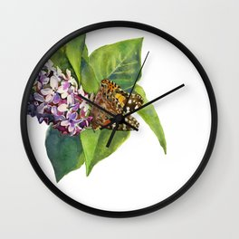 Butterfly & Lilacs Wall Clock
