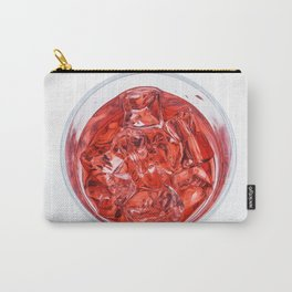 Glass with Ice and Red Liquor - top view Carry-All Pouch