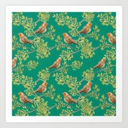 Red Robin & Emerald Green Pattern Art Print