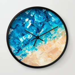 Deep | Abstract blue turquoise ocean beach acrylic brushstrokes painting Wall Clock