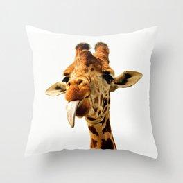 Fanny giraffe Throw Pillow