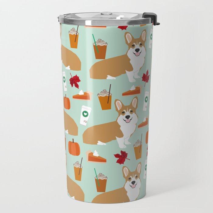 Corgi - Pumpkin Spice, psl, coffee, latte, pumpkin pie,  fall, autumn, holiday, Travel Mug