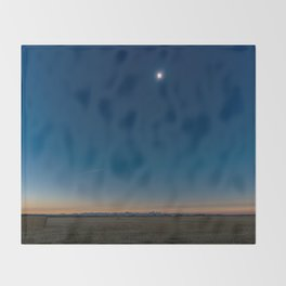 Solar Eclipse Totality Over Grand Tetons Throw Blanket