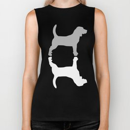 Grey and White Beagle Silhouettes Pattern Biker Tank