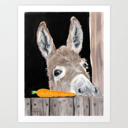 The Donkey and the Carrot - Pastel Portrait Art Print