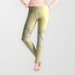 Vintage Map of The Great Lakes (1966) Leggings