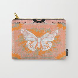 Pale Monarch Butterfly & Coral-Curry Color Western Art Design Carry-All Pouch