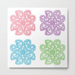 Multicolor Roses Flower Doodle Metal Print