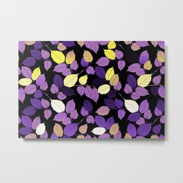 Nonbinary Pride Scattered Leaves Metal Print
