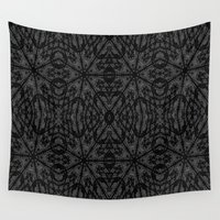 gray pattern Wall Tapestries featuring Slate Gray Black Pattern by 2sweet4words Designs