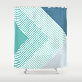 Teal Vibes - Geometric Triangle Stripes Shower Curtain