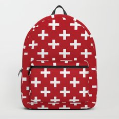 Criss Cross | Plus Sign | Red and White Backpack