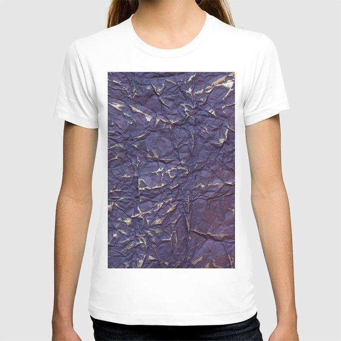 Antique shabby vintage purple creased paper T-shirt