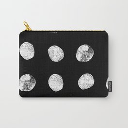 Linocut minimal black and white dots pattern minimalist texture basic art Carry-All Pouch