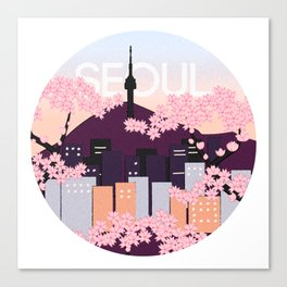 Seoul Tower with Cherry Blossoms Woodblock Style Souvenir Print Canvas Print