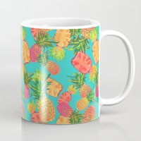 pineapples Mugs featuring Pineapples by Laura Barnes