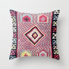 Sarkoy  Antique Bulgarian Kilim Print Throw Pillow