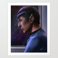 spock Art Prints featuring Spock by KirstyCarter