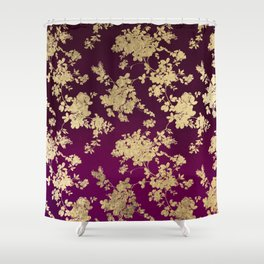 Chic faux gold burgundy ombre watercolor floral Shower Curtain