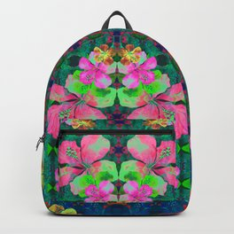 Retro Magic Hawaiian Floral Print Backpack