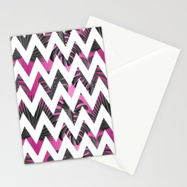 Abstract pink gray white chevron tropical monster leaves Stationery Cards