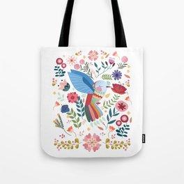Folk Art Inspired Hummingbird In A Burst Of Springtime Blossoms Tote Bag