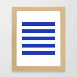 Persian blue - solid color - white stripes pattern Framed Art Print