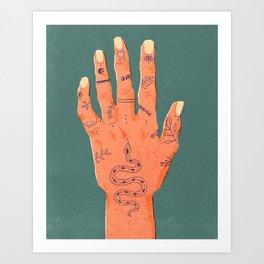 Hand Tattoos Art Print