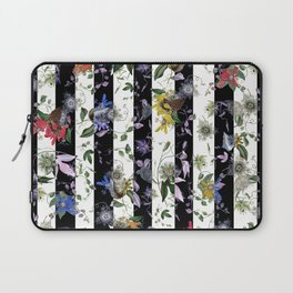Vibrant Exotic Floral on Black and White Stripes Laptop Sleeve