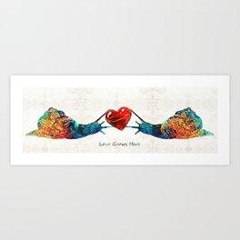 Snail Art - Love Grows Here - By Sharon Cummings Art Print