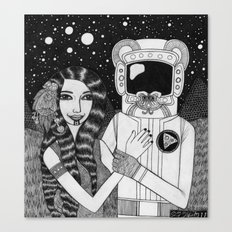 Girl with Ancient Astronaut Canvas Print