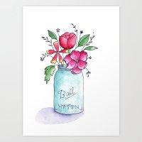 Mason Jar of Flowers 1 Art Print