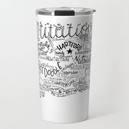 Connecticut - Hand Lettered Map Travel Mug