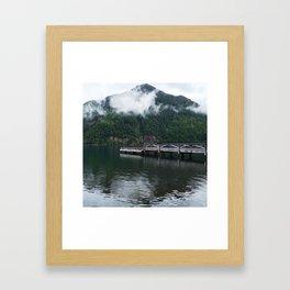 Dock at Lake Crescent - Side View Framed Art Print