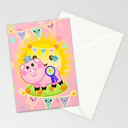 Pink Prize Pig Pennant Children's Art Stationery Cards