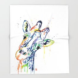 Giraffe - Curious Throw Blanket