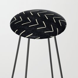 Mudcloth Big Arrows in Black and White Counter Stool