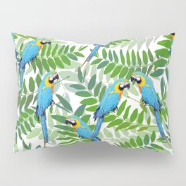 green Leaves with blue Makaw Birds Pillow Sham