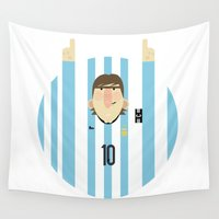 argentina Wall Tapestries featuring Lionel Messi Argentina Illustration  by Gary  Ralphs Illustrations