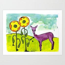 Deer with Sunflowers Art Print