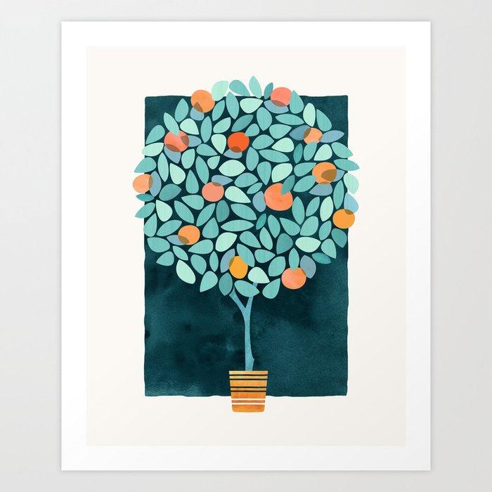 Sunny Orange Tree Art Print
