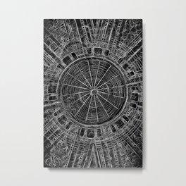 Mandala - central black and white web Metal Print
