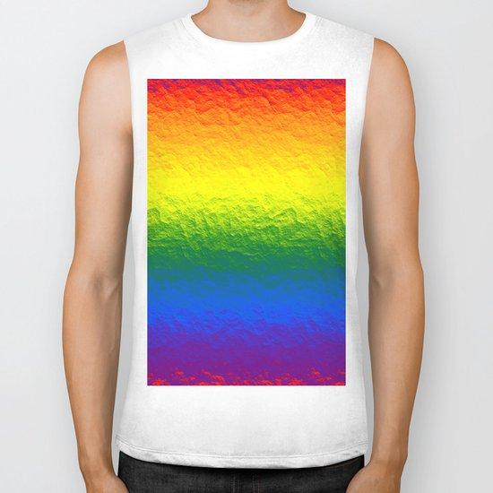 Rainbow Gradient Painted Pattern Biker Tank