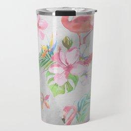 Pink lilac green watercolor hand painted tropical floral flamingos Travel Mug