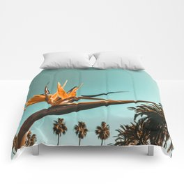 Birds of Paradise Print {1 of 3} | Palm Trees Ocean Summer Beach Teal Photography Art Comforters
