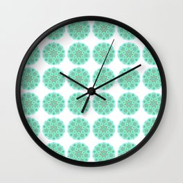Collage of green madalas Wall Clock