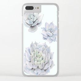 Blue Succulents Clear iPhone Case