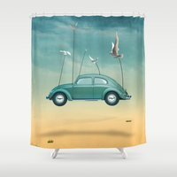 cars Shower Curtains featuring cars  by mark ashkenazi