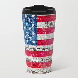 Distressed American Flag And Second Amendment On White Bricks Wall Travel Mug
