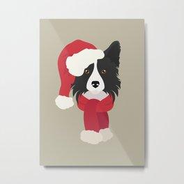 Border Collie Christmas Dog Metal Print